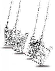 "Sterling Silver Two Piece Double Sided Scapular Medals with Our Lady of Mount Carmel. Medals come on a genuine Rhodium plated 18"" chain and a deluxe velour gift box included.  Solid .925 sterling silver. Dimensions: 0.9"" x 0.5"" (22mm x 12mm). Made in USA."
