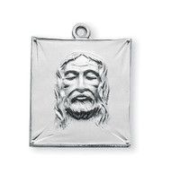 15/16 Inch Sterling Silver Shroud of Turin Medal with a genuine rhodium 24 Inch Chain in a deluxe velour gift box.