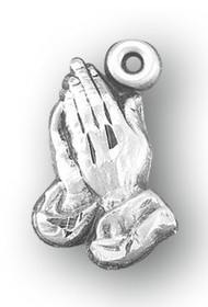 """11/16"""" Sterling Silver Praying Hands Medal with a genuine rhodium 18"""" Chain velour gift box."""