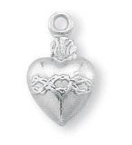 "1/2"" Sacred Heart on a heart shaped Medal. A 18"" Rhodium Plated Curb Chain is Included with a Deluxe Velour Gift Box."