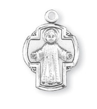 "13/16"" Sterling Silver Christ Child on a Cross Medal. Comes with a 18"" genuine rhodium chain in a deluxe velour gift box."