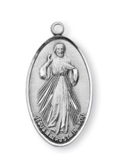 "1"" Sterling Silver Medal~Divine Mercy on front and Maria Faustina depicted on reverse side. ""Jesus I Trust in You"" written across bottom. Medal comes with a genuine rhodium 18"" Chain in a deluxe velour gift box."