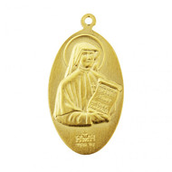 "1"" Sterling Silver or Gold over Sterling Double Side Medal~Divine Mercy on front and Maria Faustina depicted on reverse side. ""Jesus I Trust in You"" written across bottom. Medal comes with a genuine rhodium 18"" Chain in a deluxe velour gift box."