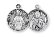 "13/16"" Round Sterling Silver Our Father/Hail Mary Medal-Sacred Heart of Jesus on the front and the Blessed Mother on the reverse side. Comes on a genuine rhodium 20"" chain in a deluxe velour gift box"