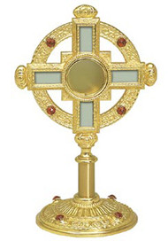 "Reliquary 122-Gold plated with 8 settings. 13"" height, 6"" base. Opening 2-1/4"" x 7/8"" deep"