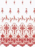 """Sheer Nylon (priced per yard) - Ample Embroidery 42"""" Wide. Design Available In White, Gold, Purple, Green and Red.  Please Specify Color  When Ordering."""