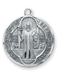 "1 1/8"" Sterling Silver St. Benedict Medal with 24"" Chain"