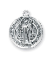 "7/8"" Sterling Silver St. Benedict Medal with 24"" Chain"