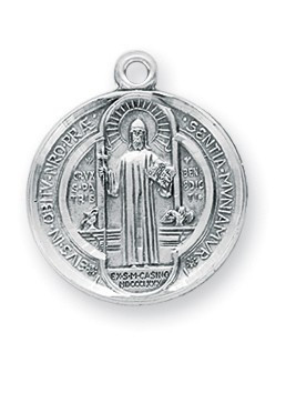 "13/16"" Sterling Silver St. Benedict Medal with 18"" Chain"
