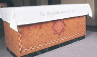 "Embroidered with ""In Remembrance of Me"" 100% pure Linen Communion Table Cover with beautiful Swiss Schiffli embroidery (Verse of Your Choice) making it ideal for use on Communion Sunday or other festive occasions.  Minimum front drop 10"". Have length and width of table along with drops required when calling to order.  Hemming and mitered corners included in price.  Call 1 800 523 7604 for assistance in ordering."