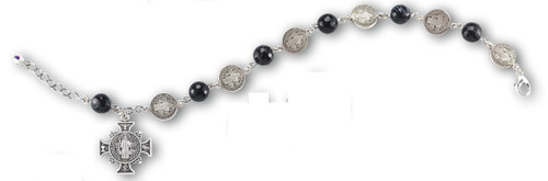 Saint Benedict Bracelet with 8mm black striped agate stones and 11mm sterling silver Saint Benedict Beads with with an ornate sterling silver Saint Benedict Cross. Comes in a deluxe velour gift box.