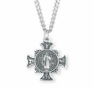 """Saint Benedict double sided Maltese cross-pendant. Solid .925 sterling silver. Saint Benedict is the protector against evil. Dimensions:0.9"""" x 0.8"""" (24mm x 21mm) Weight of medal: 13.7 Grams. 24"""" Genuine rhodium plated endless curb chain. Made in USA. Deluxe velvet gift box"""