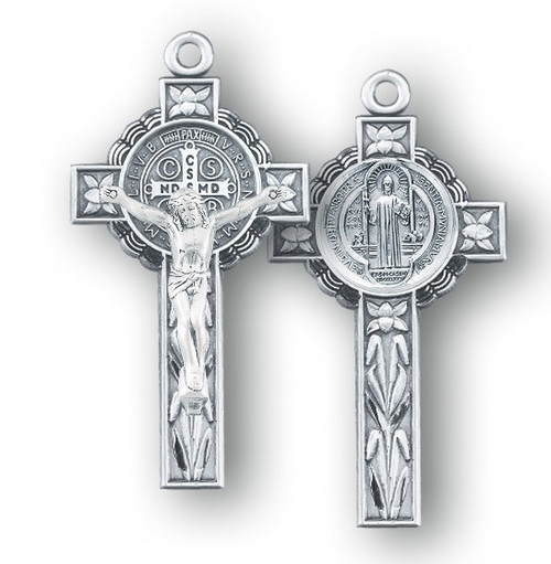 """1 5/8"""" Sterling Silver St. Benedict Crucifix with genuine rhodium plated 18"""" Chain in a deluxe velour giftbox."""