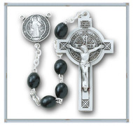 Black Oval Wood St. Benedict Rosary Boxed