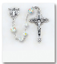 Crystal Swarovski and Murano Glass Sterling Rosary