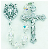 "8mm Double Capped Crystal Swarovski Beads. All Sterling Silver Findings with Sterling Silver Filigree Caps, Sterling Silver Flower Miraculous Center and Fancy Baroque with 2-1/8"" Sterling Crucifix. Deluxe Velour Gift Box Included. Made in the USA of solid sterling pins, chain, beads, centers, and crucifixes."