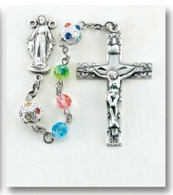 Aurora Swarovski Crystal Sterling Silver Rosary