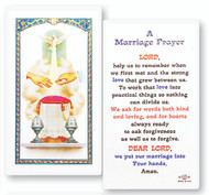 Laminated Holy Card with Marriage Prayer