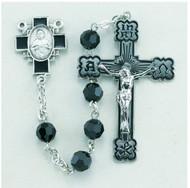 Jet Black Swarovski Crystal Sterling Rosary