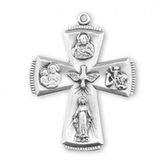 """Four-way combination Medal, Miraculous-Scapular-Saint Christopher-Saint Joseph medal. Solid .925 sterling silver.  Dimensions: 1.5"""" x 1.1"""" (38mm x 28mm).  24"""" Genuine rhodium plated endless curb chain. Deluxe velvet gift box. Made in USA."""