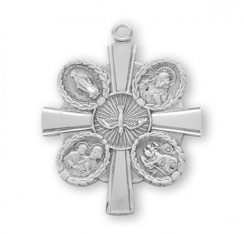 """Four-way combination Medal, Miraculous-Scapular-Saint Christopher-Saint Joseph medals.  Solid .925 sterling silver.  Dimensions: 1.3"""" x 1.1"""" (32mm x 27mm).  24"""" Genuine rhodium plated endless curb chain.  Deluxe velvet gift box. Made in USA."""