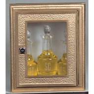 "Ambry-22 - Plexiglass window. Bronze face. Dimensions: 12"" H X 10"" W. Stainless Steel box 11"" H x 9""W x 4""D. Bottles shown (K71) not included"