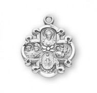 "Solid .925 sterling silver  Four-way combination Medal ~ Miraculous-Scapular-Saint Christopher-Saint Joseph medal.  An 18"" rhodium plated curb chain is included with a deluxe velour gift box. Dimensions: 0.8"" x 0.6"" (19mm x 16mm). Made in the USA."
