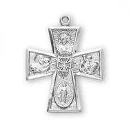 "Solid .925 sterling silver Four-way combination Medal, Miraculous-Scapular-Saint Christopher-Saint Joseph medal.  Dimensions: 1.2"" x 0.9"" (30mm x 23mm). 24"" Genuine rhodium plated endless curb chain.  Deluxe velvet gift box. Made in USA."
