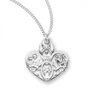 """Sterling Silver 4-Way Medal Made in the USA. The heart shaped medal is adorned with St. Christopher, St. Joseph, Sacred Heart of Jesus, a Miraculous Medal and IHS.  18"""" genuine rhodium  plated curb chain is included with a deluxe velour gift Box. Made in the USA"""