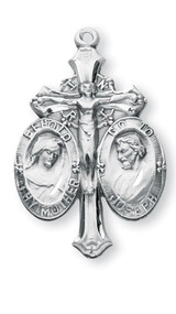"""Sterling Silver Jesus-Mary Joseph Medal The uniquely shaped medal is adorned with St. Joseph, a Crucifix and the Blessed Mother. The words """"Behold Thy Mother and Go to Joseph"""" are written around each medal.  A 24"""" rhodium plated curb chain is included with a deluxe velour gift box.  Made in the USA."""