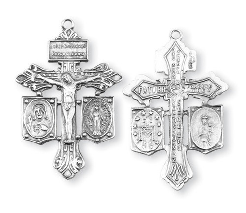 "1 3/8"" Sterling Silver Jesus-Mary-Joseph Crucifix 20"" Chain"