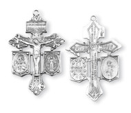 "1 3/8"" Sterling Silver Pardon Crucifix Combination Medal, Scapular,  Jesus, Mary & St. Joseph Crucifix. Crucifix comes on a 24"" genuine rhodium chain in a deluxe velour gift box. Dimensions: 1.4"" x 0.9"" (35mm x 23mm). Weight of medal: 4.3 Grams. Made in the USA"