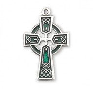 """Sterling Silver Celtic Cross with Green Enamel comes with a 18"""" genuine rhodium plated chain in a deluxe velour gift box. Dimensions: 0.9"""" x 0.6"""" (23mm x 14mm). Made in USA."""