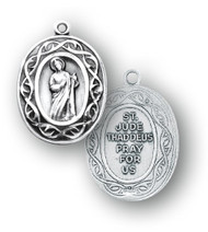 15/16 inch sterling silver St. Jude medal. Medal comes with a genuine rhodium plated 18 inch curb chain. Medal presents in a deluxe velour gift box. Made in the USA