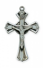 "1"" x 5/8"" Antique Silver plated pewter crucifix with 18 inch rhodium plated chain and gift box."