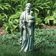 "Saint Joseph Garden Figure. This 20"" St. Joseph Garden Statue is made of resin/stone mix.  The St. Joseph Garden figure is a wonderful addition to any garden."