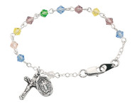 "5 1/2"" Sterling Silver or Rhodium plated Pewter Baby Bracelet with Tin Cut Multicolor Beads and Sterling Silver or Silver Ox  Miraculous Medal and Crucifix."