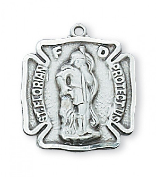 """Sterling Silver Saint Florian Medal ~  St Florian is the Patron Saint of Firefighters.  The St. Florian Medal is 11/16""""L and  comes on an 18"""" rhodium plated chain.  A deluxe giftbox is included."""
