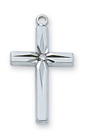 "Sterling SSterling Silver Cross with 18"" Rhodium Plated Chain. Length: 13/16"". Deluxe Gift Box Included."
