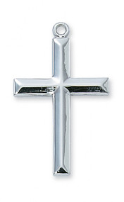 """Sterling Silver Cross with 24 inch rhodium plated chain. Beveled edges. Length: 1 1/4""""."""