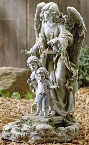 Garden statue of guardian angel standing behind two children holding a solar powered lantern.