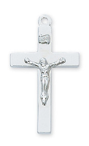 "1 1/8"" Sterling Silver Crucifix.  Crucifix comes on a 20"" rhodium plated chain. A  deluxe gift box is included. Made in the USA."