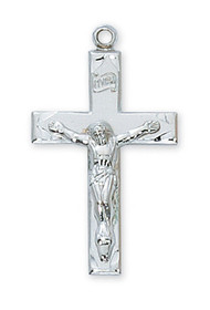 "1 3/16"" Sterling Silver Crucifix.  Crucifix comes with a 24"" rhodium plated chain. Crucifix comes in a deluxe gift box. Made in the USA"
