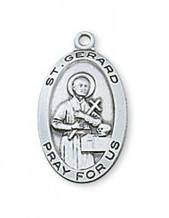 Sterling Silver Saint Gerard Medal with 18 Inch Chain