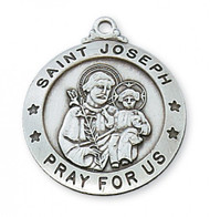 "1"" x 7/8"" Sterling Silver Saint Joseph Medal. St. Joseph is the Patron Saint of Families and Carpenters. St Joseph Medal comes with 24"" rhodium plated chain and comes in a deluxe giftbox. Made in the USA."