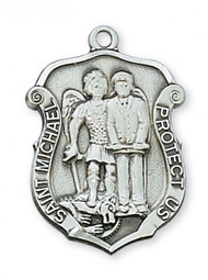 """Sterling Silver Saint Michael Policeman's Badge 1 2/16"""" Medal. St Michael Policeman's Badge Medal comes on a 20"""" rhodium plated chain.  A deluxe gift box is included. Made in the USA."""