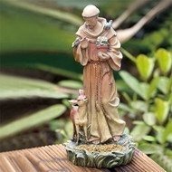 "12"" Saint Francis Bird Feeder. Resin/Stone Mix. Dimensions: 12""H x 4.5""W x 5.75""D"