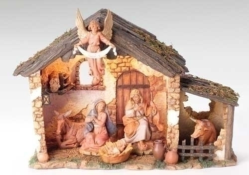 "Nativity Scene consists of a 6 piece - 5"" Centennial Figurines and Lighted Stable. Exclusive Inspirational Fontanini™ Nativity Set. Can be used on a table top or displayed under your tree to add the perfect touch to your holiday decorating. Nativity is meticulously crafted with unique detailing and coloring. Stable Dimensions: 10"" H X 14"" W X 6.5"" D   You are able to choose future pieces from the wide selection Fontanini offers"
