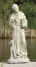 "18"" Saint Francis with Fawn Figure. Resin/Stone Mix"