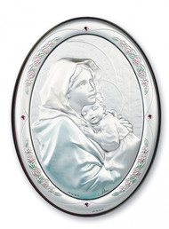 "7"" x 5"" Sterling Silver Madonna of the Street Plaque"